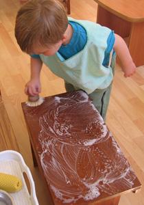 boy scrubbing